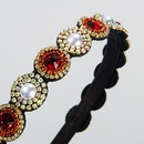 Korean new fashion inlaid pearl glass diamond baroque fineedged cheap headband wholesale NHLN208134