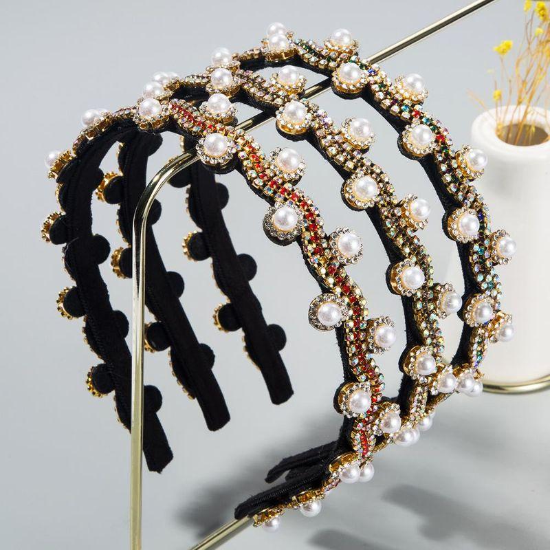 New Korean vintage pearl rhinestone fine-edged diamond cheap headband wholesale NHLN208135