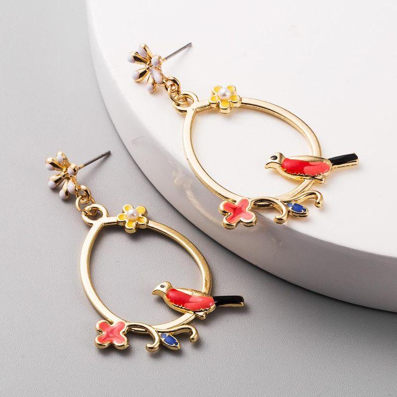 New fashion alloy drop oil flowers birds elegant long earrings yiwu nihaojewelry wholesale NHLN208138