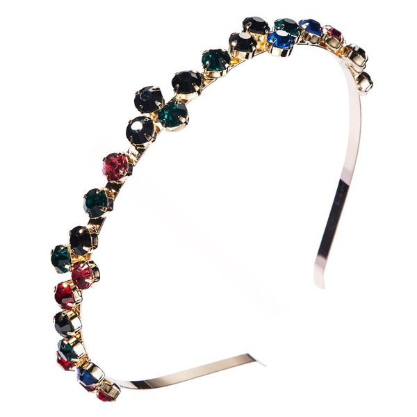 Korean new fashion alloy with color rhinestone baroque fine-edged cheap headband wholesale NHLN208144