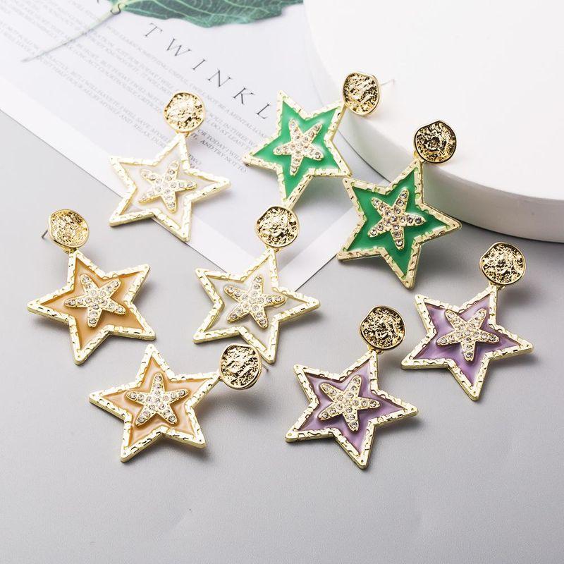 Korean new fashion earrings S925 silver needle alloy diamond drop oil pentagram earrings yiwu nihaojewelry wholesale NHLN208151