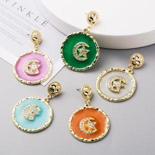 Korean new fashion earrings S925 silver needle alloy diamond drop oil star moon earrings yiwu nihaojewelry wholesale NHLN208154's discount tags
