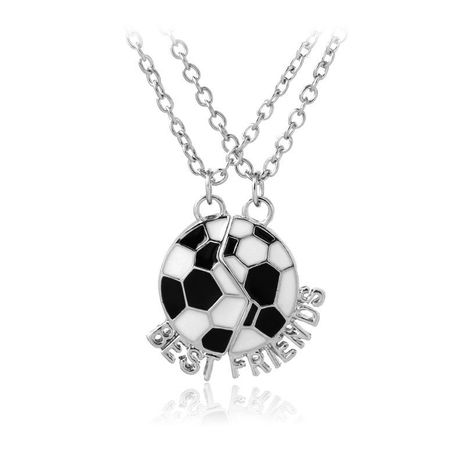 New fashion two-half stitching World Cup football necklace fashion football good friend pendant necklace NHMO208169's discount tags