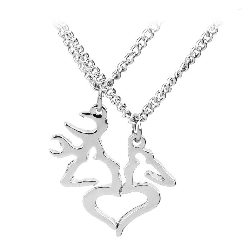 New fashion antlers necklace Valentine's Day Christmas gift elk love stitching couple necklace clavicle chain NHMO208179