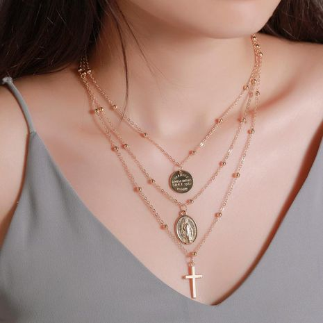 New Necklace Metal Three-layer Alphabet Christian Jesus Pendant Necklace Multilayer Cross Necklace NHMO208185's discount tags