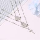 New Necklace Metal Threelayer Alphabet Christian Jesus Pendant Necklace Multilayer Cross Necklace NHMO208185