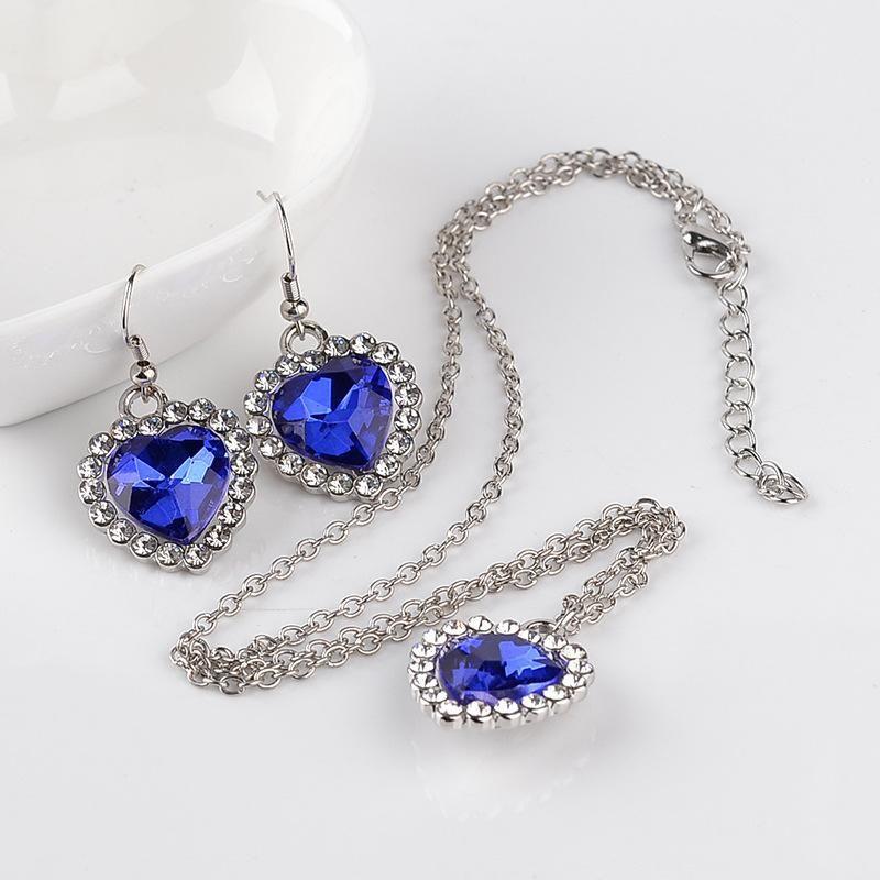 New fashion gemstone necklace earring set yiwu nihaojewelry wholesale NHMO208199