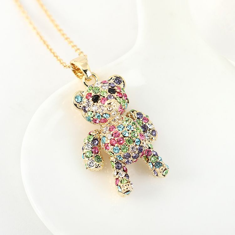New fashion crystal cute bear necklace yiwu nihaojewelry wholesale NHSE208218