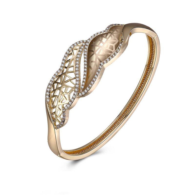 New K gold zircon fashion bracelet champagne gold leaf hollow bracelet yiwu jewelry wholesale NHKL208109