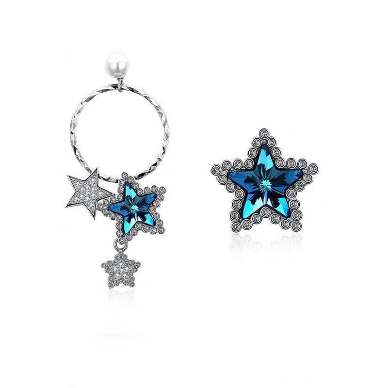New fashion asymmetric star shape S925 sterling silver earrings yiwu jewelry wholesale NHKL208111