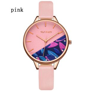 Korean new fashion women's watch printed dial thin belt casual quartz watch creative watch NHLN208234's discount tags