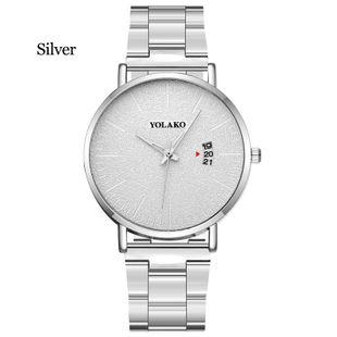 New fashion large dial calendar frosted texture stainless steel mesh belt men's quartz watch casual watch NHLN208241's discount tags