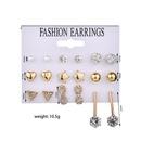New fashion diamond triangle 8 word rhinestone 9 pair set earrings yiwu nihaojewelry wholesale NHDM208243