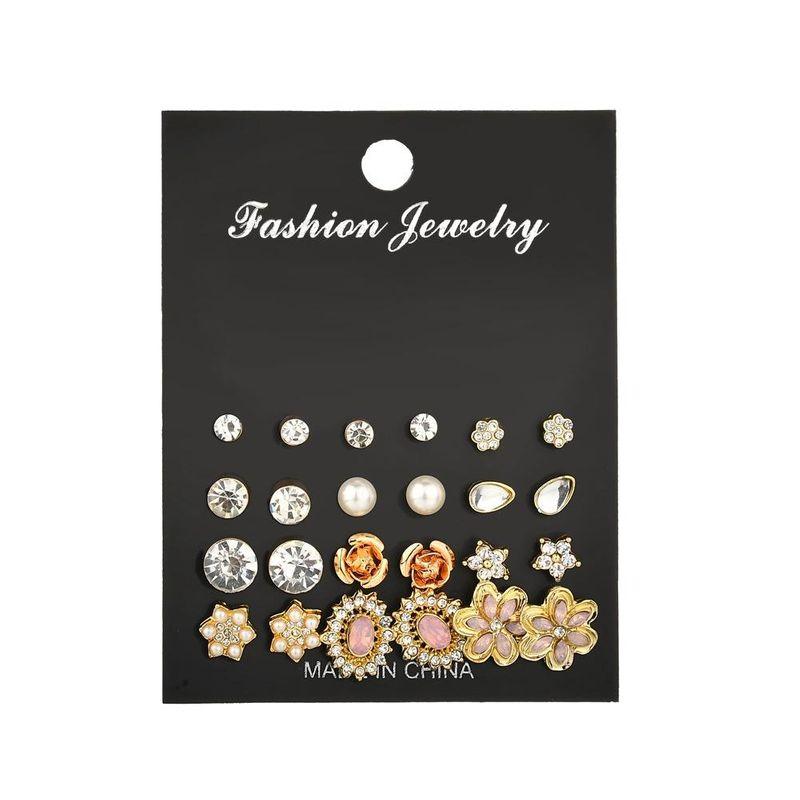 New fashion alloy diamond set cat's eye flower earrings yiwu nihaojewelry wholesale NHDM208245