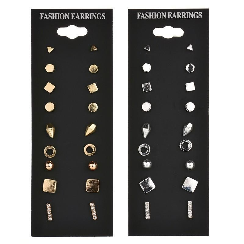 New fashion simple 9 pairs of metal earrings geometric earrings yiwu nihaojewelry wholesale and wholesale NHDM208246