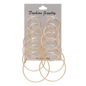 New fashion size circle earrings exaggerated punk rock earrings earrings 6 pairs suit yiwu nihaojewelry wholesale NHDM208258