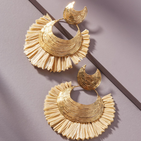 Customized products nihaojewelry yiwu china fashion ethnic style alloy raffia earrings NHMD208651's discount tags