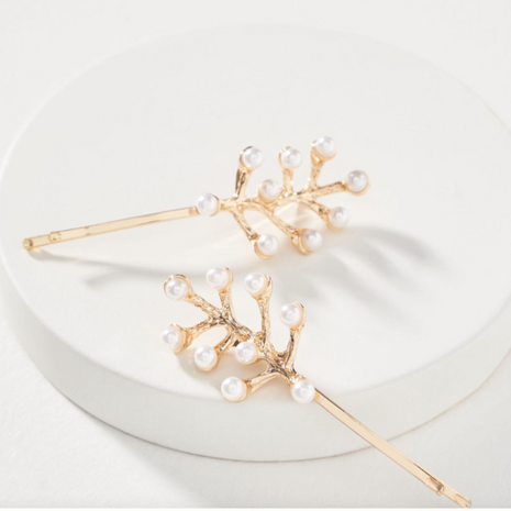 Customized products nihaojewelry yiwu china fashion alloy leaf pearl hairpin NHMD208650's discount tags