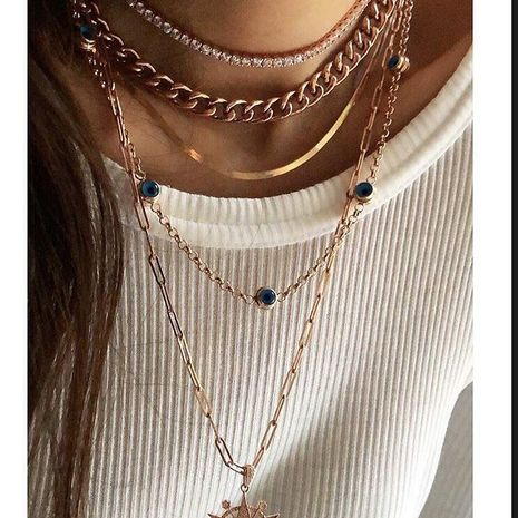 Customized products fashion punk style multilayer alloy necklace wholesale NHMD208645's discount tags