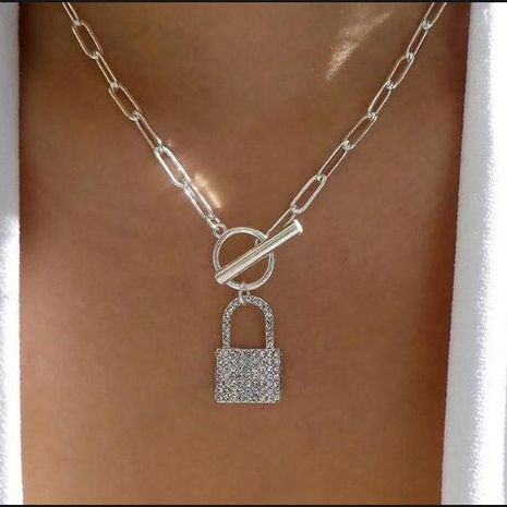 Customized products fashion alloy necklace geometric lock pendant NHMD208642's discount tags
