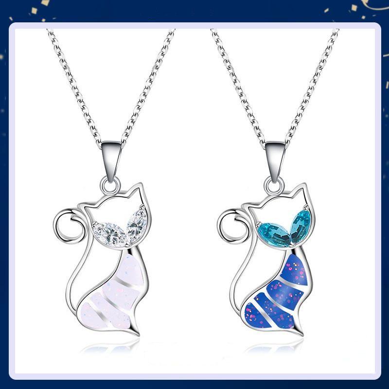 New fashion sweet cat pendant necklace female hollow diamond necklace wholesale NHMO208210