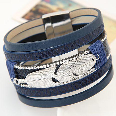 Nouveau métal plume en cuir multi-couche ultra-large boucle magnétique bracelet yiwu nihaojewelry gros NHSC208659's discount tags