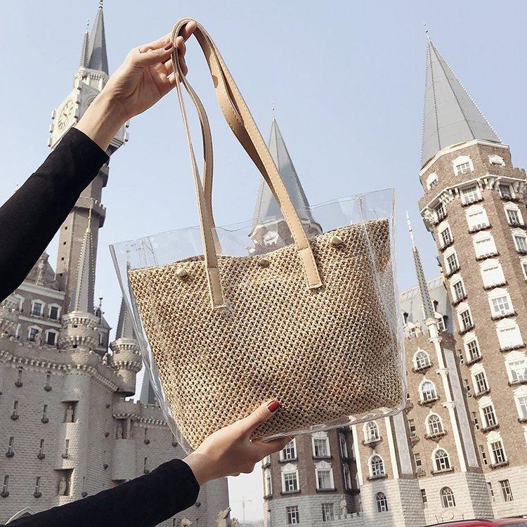 Spring new female bag Korean PVC transparent large capacity straw bucket bag fashion shoulder portable female bag NHGA208269