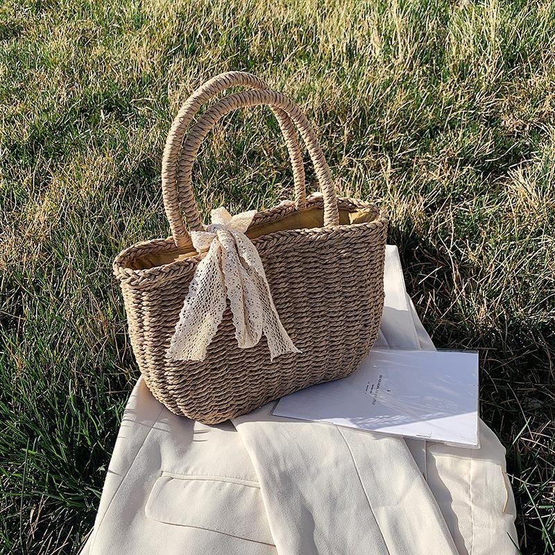 Spring new straw woven bag holiday woven bag Sen department beach holiday beach bag vegetable basket type female bag NHGA208271