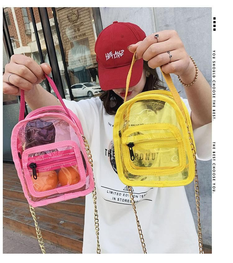 Spring new women's bag transparent PVC mini small backpack waterproof shoulder chain handbag wholesale NHGA208294