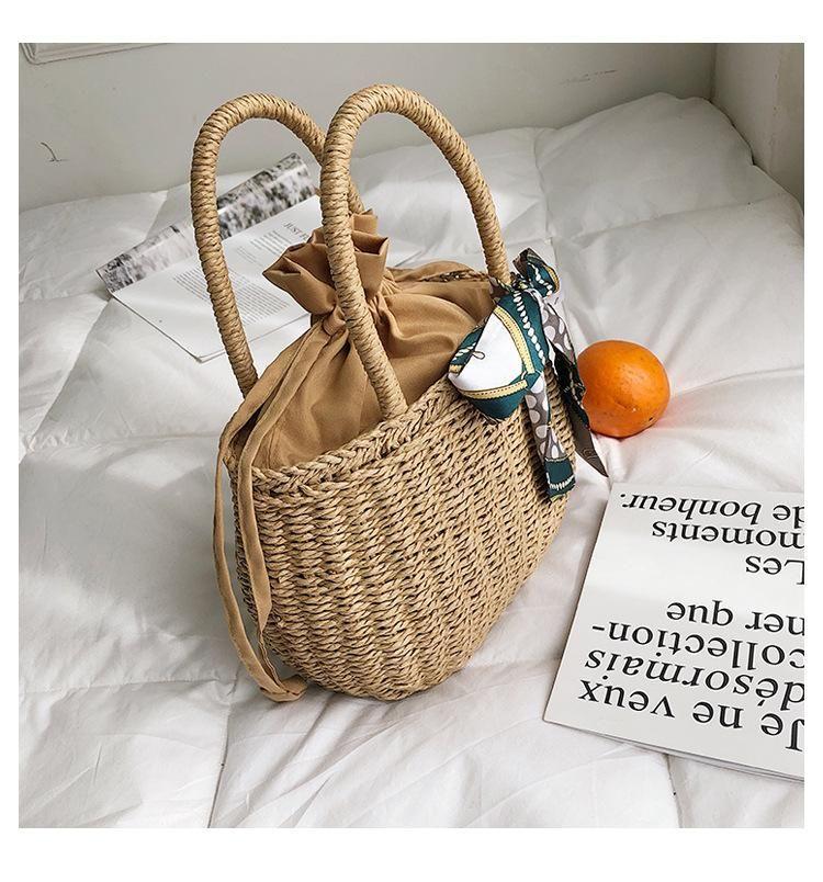 New fashion simple straw bag woven bag female bag holiday beach bag wholesale NHGA208345