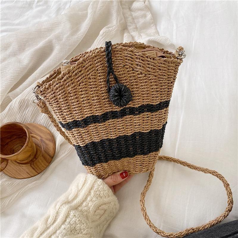 Summer new straw bag hand-woven striped shoulder messenger female bag fashion seaside vacation beach bag NHGA208366