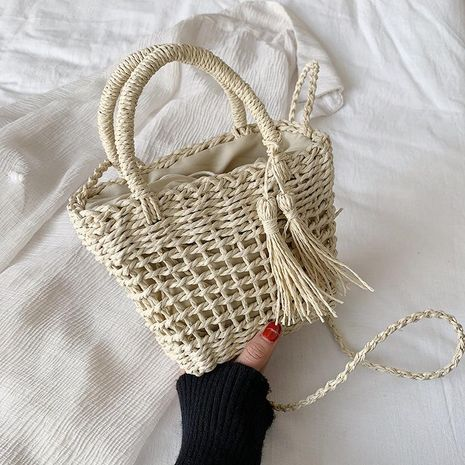 Straw bag Korean fashion hollow female bag handmade shoulder woven bag holiday beach bag NHGA208375's discount tags