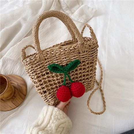 Cherry straw bag summer new female seaside holiday beach bag shoulder slung small fresh woven small bag NHGA208384's discount tags