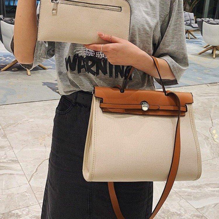 New retro canvas bag shoulder messenger portable female bag large capacity briefcase NHGA208385