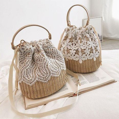 Summer straw bag new bucket bag woven female bag lace shoulder messenger portable beach bag NHGA208386's discount tags