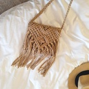 New fashion tassel straw bag small square bag shoulder messenger female bag wholesale NHGA208391