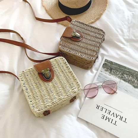 Summer new beach straw bag seaside leisure holiday small square bag woven bag wholesale NHGA208392's discount tags