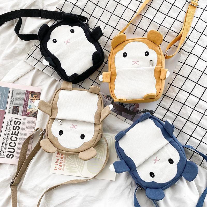 New fashion childlike funny cartoon small animal hamster canvas messenger bag cute cute wild student mobile phone bag NHHX208528