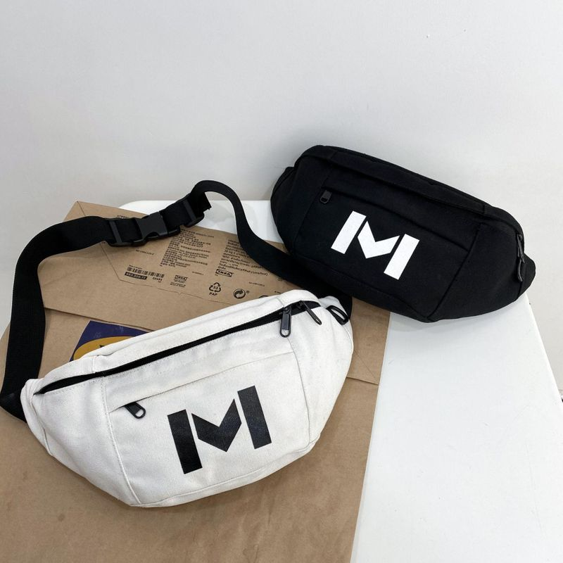 Korean new fashion student wild canvas chest bag casual messenger bag wholesale NHHX208547