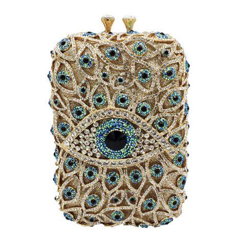 New fashion dinner bag eyes diamond party bag devil's eye rhinestone clutch female bag NHJU208589's discount tags