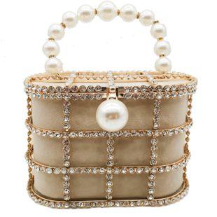 New fashion female bag metal bucket bag pearl diamond bag handbag with chain bag wholesale NHJU208593's discount tags