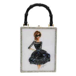 New fashion pu box bag printed pattern handbag acrylic female bag wholesale NHJU208594's discount tags