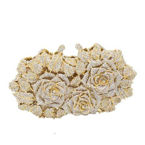New fashion dinner bag metal diamond banquet bag flower clutch bag chain bag party evening bag NHJU208595's discount tags