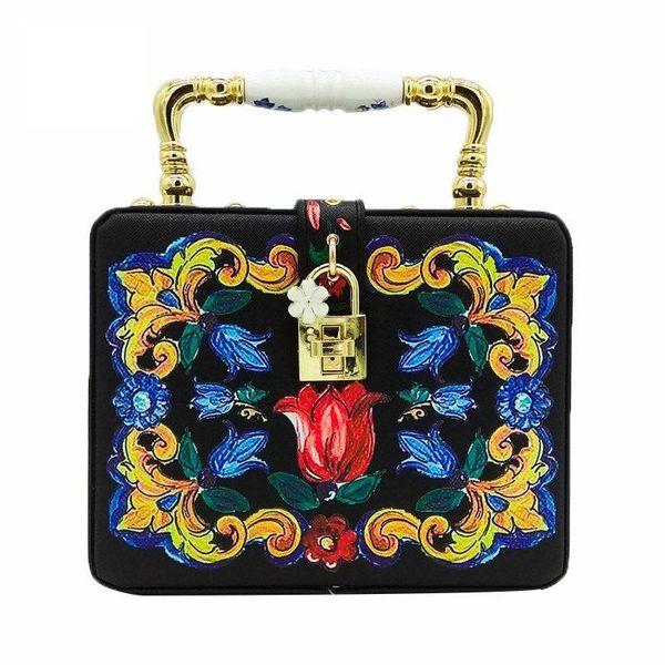 FGG totes bag European and American pu female bag printed small square bag ceramic wrist handbag messenger bag lock bag NHJU208604