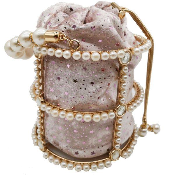 New fashion female bag metal bucket bag pearl diamond bag handbag with chain bag NHJU208605