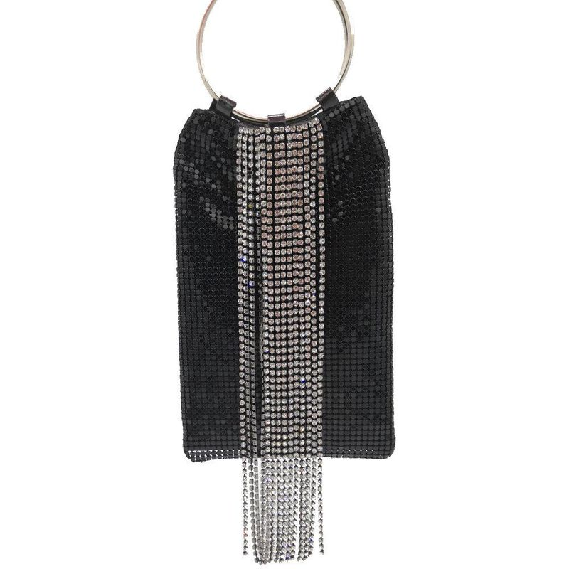 New fashion hand ring tassel sequins bag diamonds dinner bag aluminum film bag handbag party bag NHJU208607