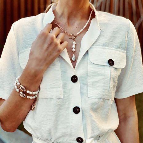 Nueva moda coreana aleación asimétrica collar de perlas moda simple colgante retro al por mayor NHJJ208743's discount tags