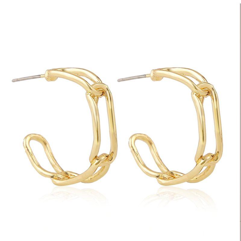 New simple temperament C-shaped earrings female fashion alloy earrings for women wholesale NHJJ208745