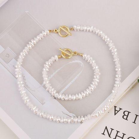 Nueva moda simple cadena retro collar de perlas pulsera conjunto al por mayor NHJJ208754's discount tags