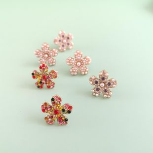 New fashion flowers simple diamond earrings for women wholesale NHJJ208774's discount tags